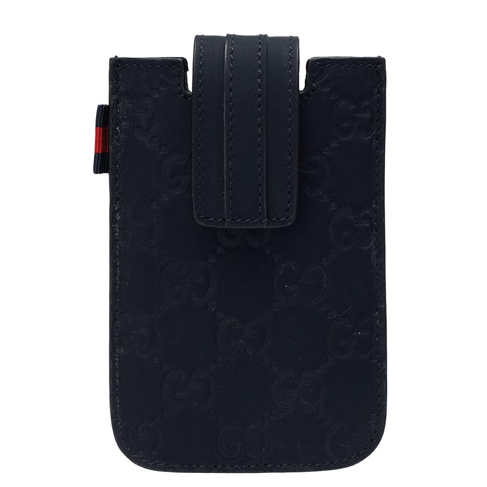 GUCCI 經典guccissima牛皮IPHONE4/4S手機保護套(深藍)GUCCI