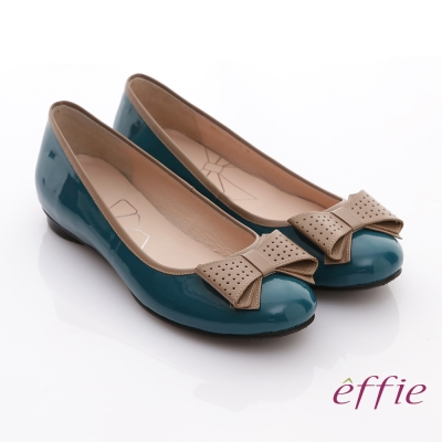 effie 俏麗悠活 鏡面真皮立體蝴蝶結平底鞋 正綠