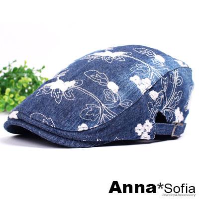 AnnaSofia 繡朵水洗牛仔 鴨舌帽小偷帽(中藍系)