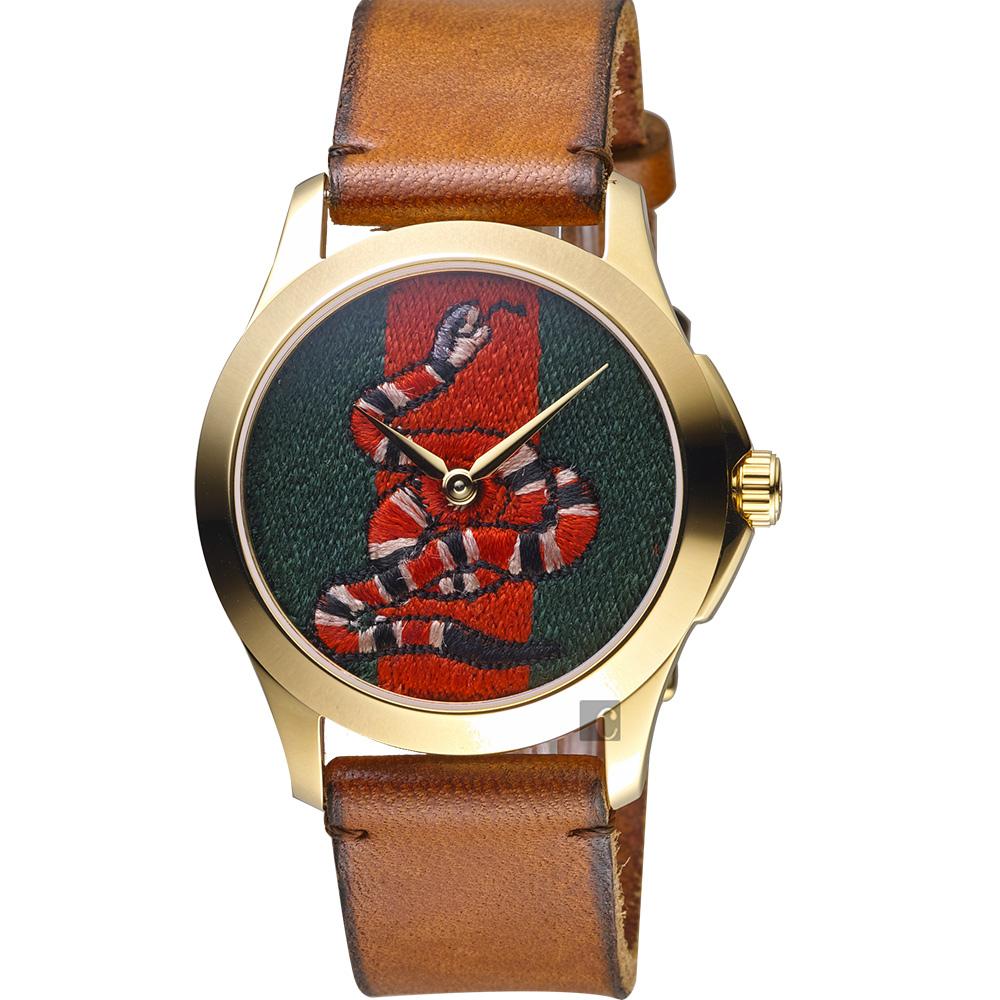 GUCCI 古馳 珊瑚蛇刺繡手錶-咖啡色錶帶/38mm