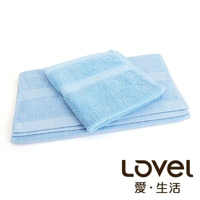 LOVEL 嚴選六星級飯店(毛巾+方巾)超值雙件組合(蔚藍)