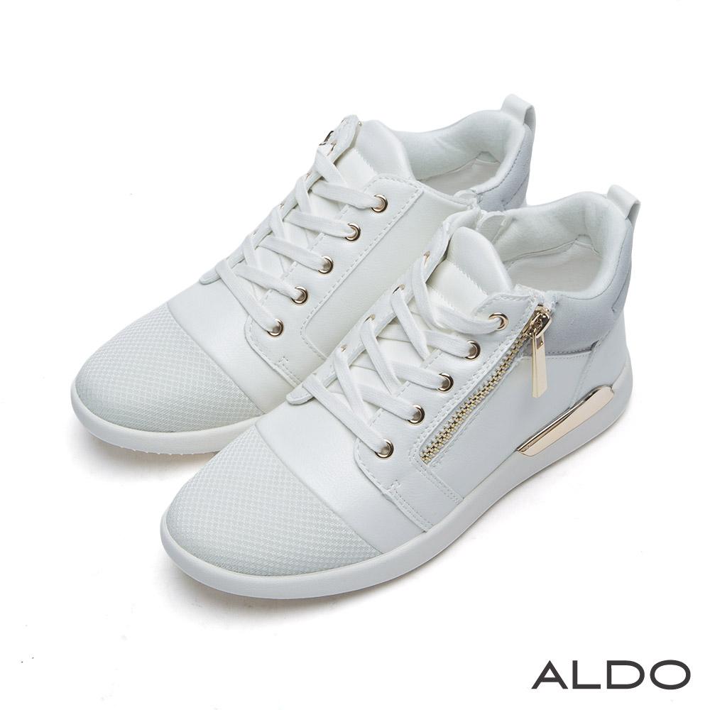 ALDO 蛇紋拼接綴幾何金屬拉鍊高筒運動鞋~氣質白色