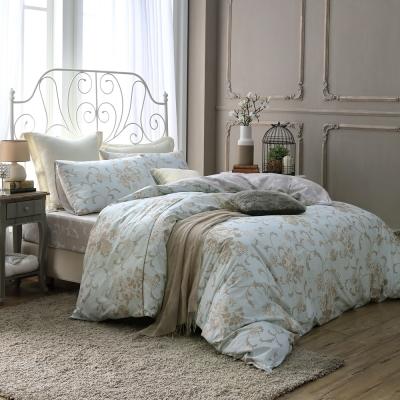 鴻宇HongYew 100%精梳棉 克莉斯朵 藍 雙人特大床包枕套三件組