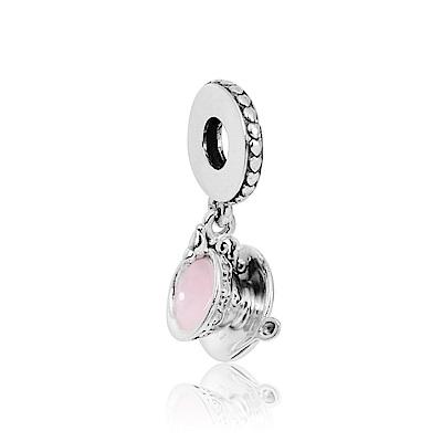 Pandora 潘朵拉  垂墜魔法粉色琺瑯茶杯 純銀墜飾 串珠