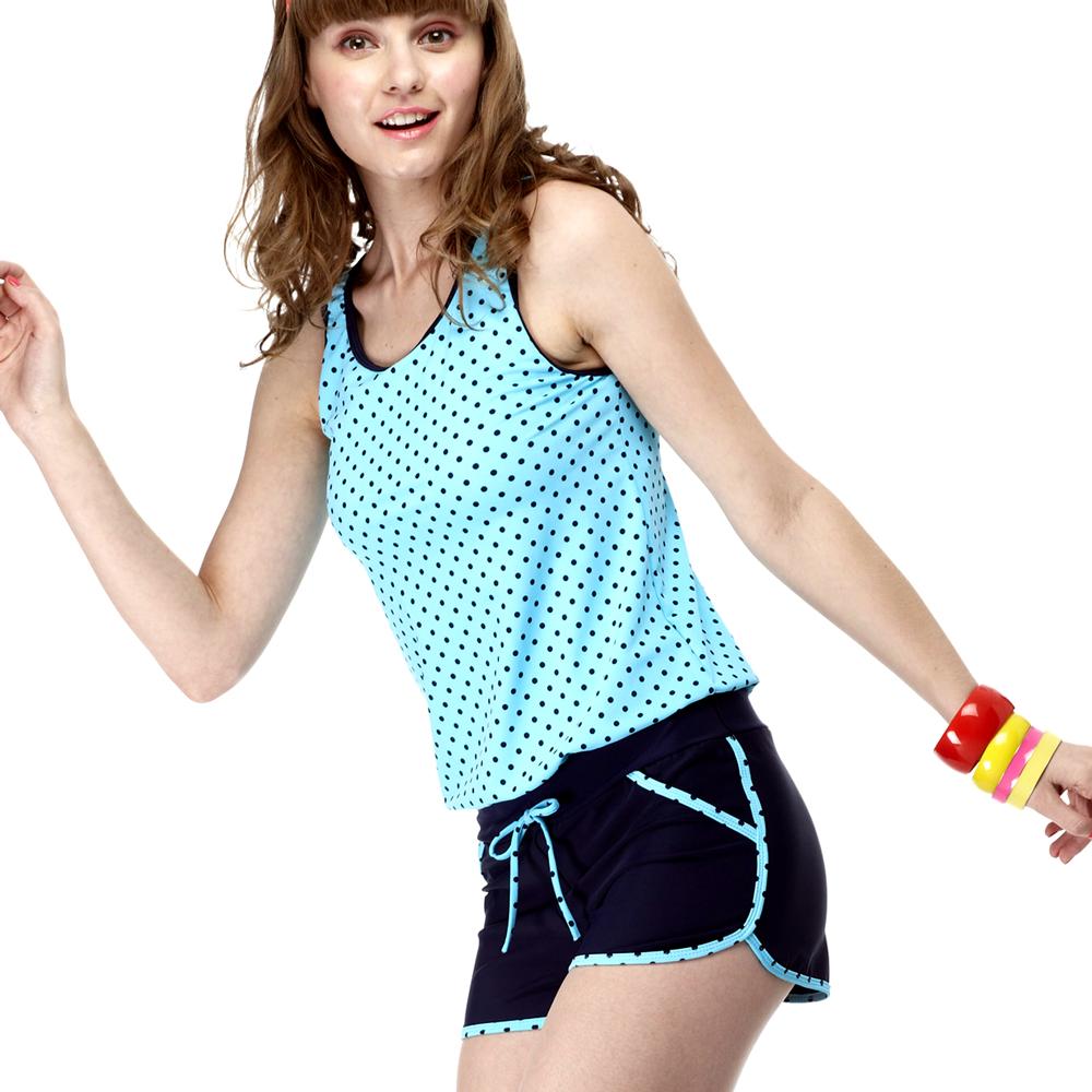 泳裝 兩件式 藍色水玉背心 二截式女泳裝 沙兒斯