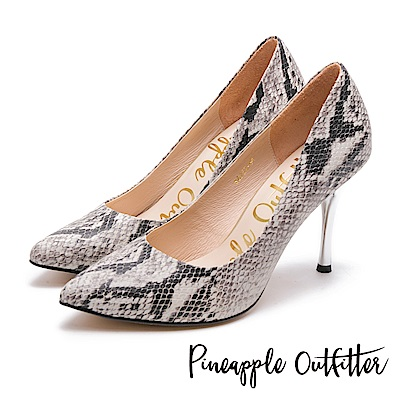 Pineapple Outfitter 時髦女伶 性感尖頭蛇紋金屬高跟鞋-黑灰