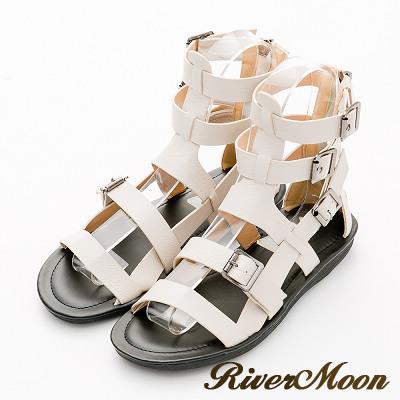 River&Moon涼鞋-率性魚骨編織扣環平底羅馬涼鞋-米