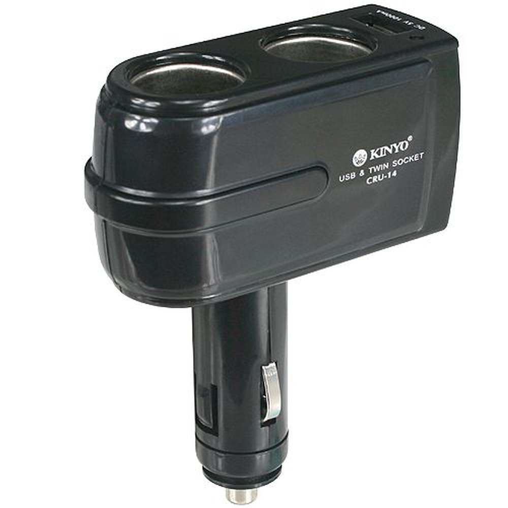 [快] KINYO 2孔車用點煙器+USB充電槽(CRU-14)