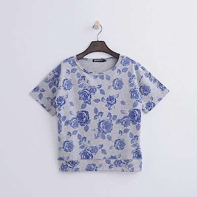 Hang Ten - 女裝 - 花卉印圖運動衫-藍色
