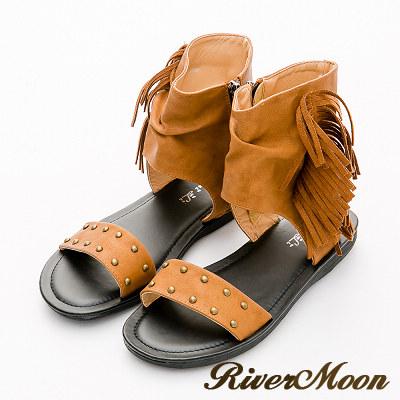 River&Moon涼鞋-復古波西皺褶流蘇包踝羅馬涼鞋-黃棕