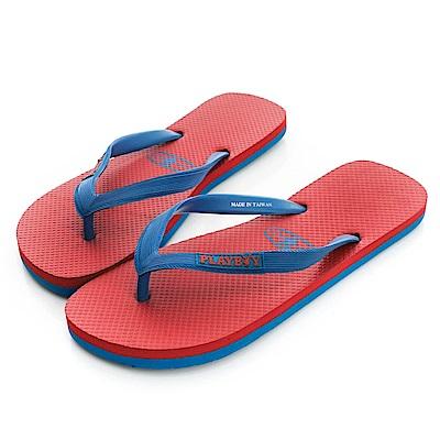PLAYBOY 原創洗鍊 俐落設計夾腳拖鞋-紅(男)