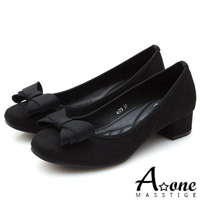 A one 麂絨小方頭蝴蝶結粗跟鞋-黑色
