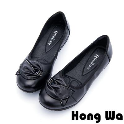 Hong Wa - 可愛大蝴蝶結水鑽柔軟娃娃鞋 - 黑