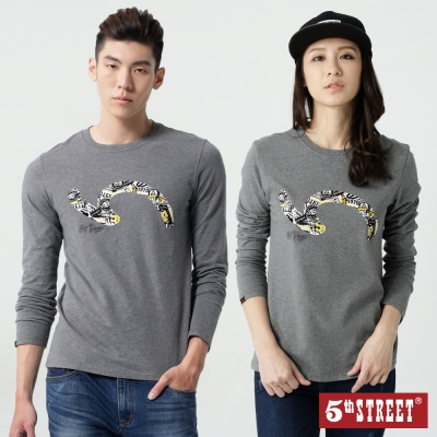 5th STREET 袋花植絨設計長袖T恤-中性-灰色