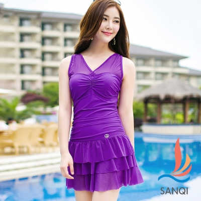 SANQI三奇 陽光元氣 二件式連身泳裝(紫M~XL)