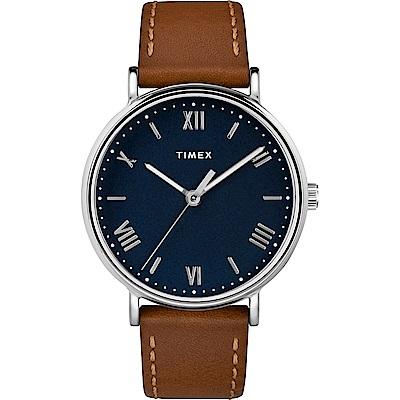 TIMEX 天美時 風格系列 羅馬字手錶 藍x棕色/41mm