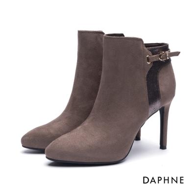 達芙妮DAPHNE 短靴-拼接金屬爆裂紋絨布細高跟踝靴-卡其
