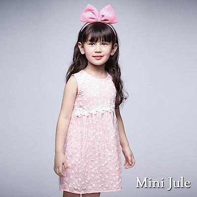 Mini Jule 童裝-洋裝 小白花細格紋後拉鍊背心洋裝(粉桔)