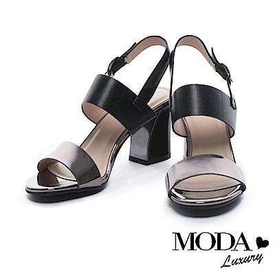 涼鞋 MODA Luxury 摩登簡約鏡面寬帶粗高跟涼鞋-黑