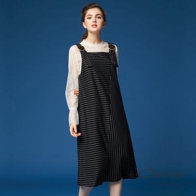 OUWEY歐薇 優雅條紋剪接吊帶洋裝(黑)-動態show