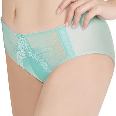 思薇爾 撩波系列M-XXL蕾絲中腰三角褲(泉水綠)