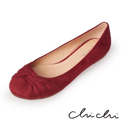 Chichi 甜美風格 圓頭扭結絨布平底鞋*紅色