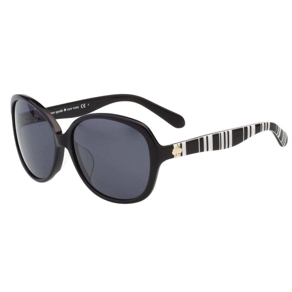Kate Spade- 圓面 黑白條紋 太陽眼鏡(黑色) @ Y!購物