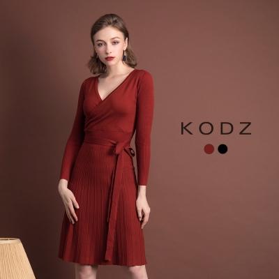 東京著衣KODZ經典不敗V領微性感設計針織洋裝-S.M.L(共二色)