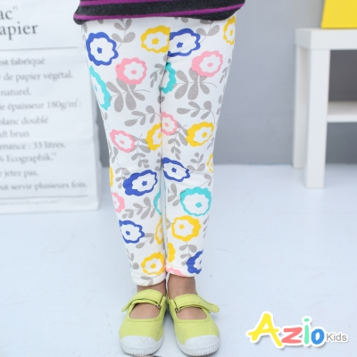 Azio Kids 童裝-內搭褲 不倒絨繽紛花朵鬆緊腰內搭褲(白)