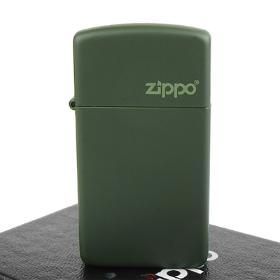 【ZIPPO】美系~LOGO字樣打火機~Green Matte軍綠烤漆-窄版