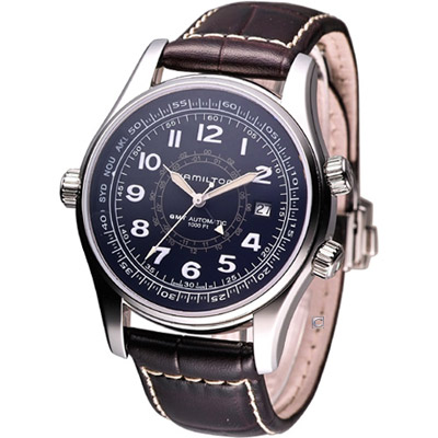 Hamilton Khaki UTC 航海兩地時區腕錶-黑/42mm