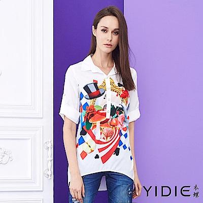 YIDIE衣蝶 愛麗絲夢遊童話鑽紐扣襯衫