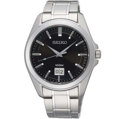 SEIKO 精工卓越再現炫黑時尚腕錶-黑/40mm
