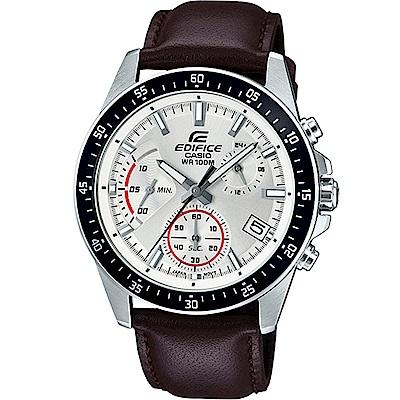 EDIFICE 大氣風格時尚腕錶(EFV-540L-7A)白x咖啡/43.8mm