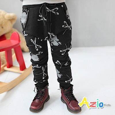 Azio Kids 童裝-長褲 磨毛竹蜻蜓印花縮口長褲(黑)
