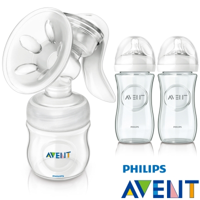PHILIPS AVENT輕乳感PP手動吸乳器+親乳感玻璃防脹氣奶瓶(240ml*2)