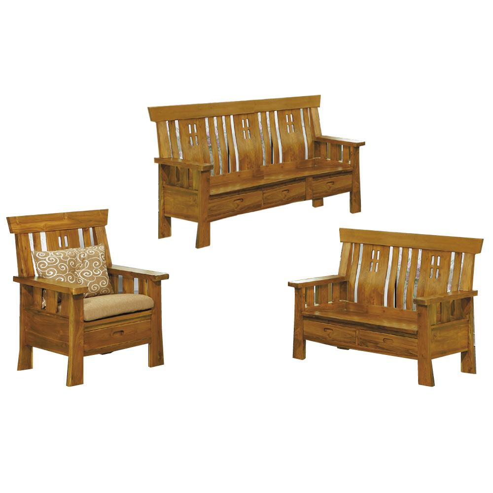 品家居 米格魯柚木實木收納椅組合(1+2+3人座+不含椅墊)