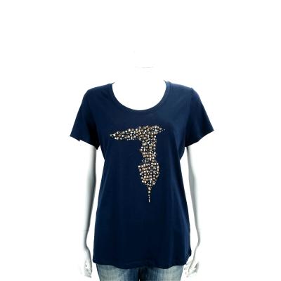 TRUSSARDI 深藍色創意貼飾棉質短袖T恤