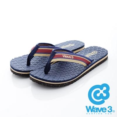 WAVE3【男】台灣製 潛水衣面料/菱格紋瑜珈墊人字夾腳拖鞋~藍