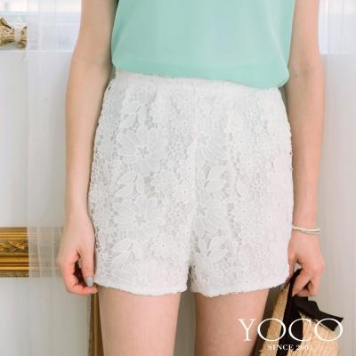 東京著衣-yoco 鏤空蕾絲花高腰短褲-S.M.L(共二色)