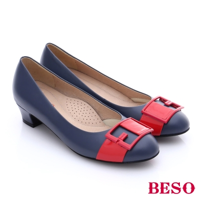 BESO-簡約知性-嚴選真皮方形飾釦中跟鞋-藍