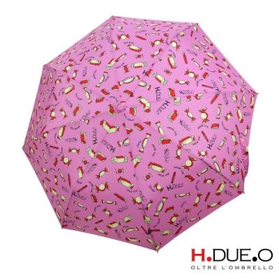 義大利H.DUE.O甜心糖果抗UV三折半自動傘-粉色