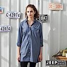 JEEP 女裝 洋裝式點點長板襯衫-藍色