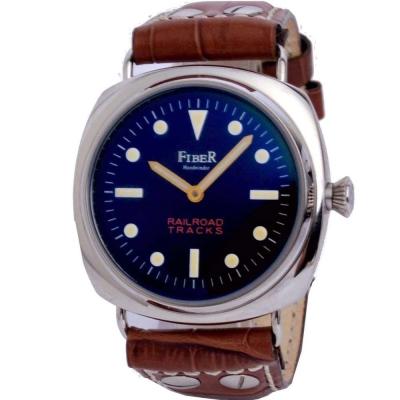 FIBER 鐵軌系列手上鍊復古軍用錶款-咖啡/45mm