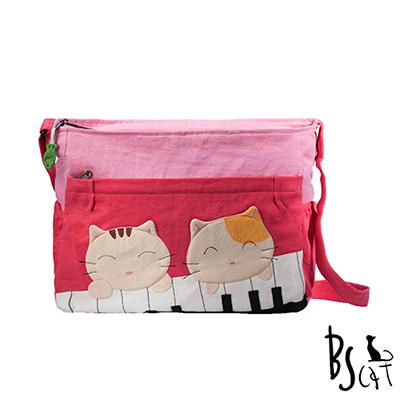 ABS貝斯貓 可愛貓咪拼布 肩背包 斜揹包 (粉) 88-213
