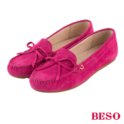 BESO繽紛奇幻 經典都會蝴蝶結全真皮莫卡辛鞋~桃紅