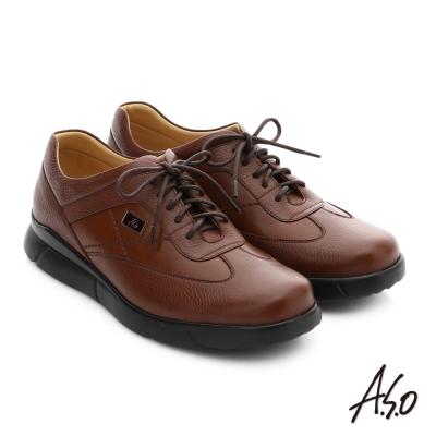 A.S.O 後切氣墊 牛皮綁帶奈米紳士皮鞋 茶色