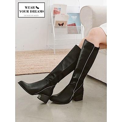 溫暖顯瘦彈力大筒圍仿皮革拼接長靴-OB大尺碼
