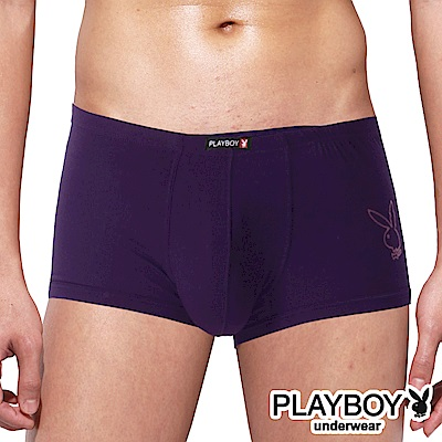 PLAYBOY 兔頭LOGO嫘縈柔感四角褲 平口褲-單件-紫