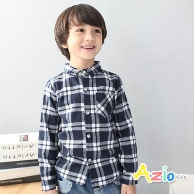 Azio Kids 童裝-襯衫 雙線格紋配色單口袋長袖襯衫(藍)